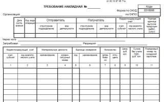 Требованиенакладная форма м11 пример заполнения