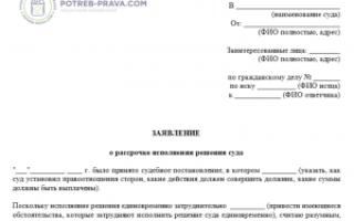 Заявление об отсрочке исполнения решения суда. образец заполнения и бланк 2021 года